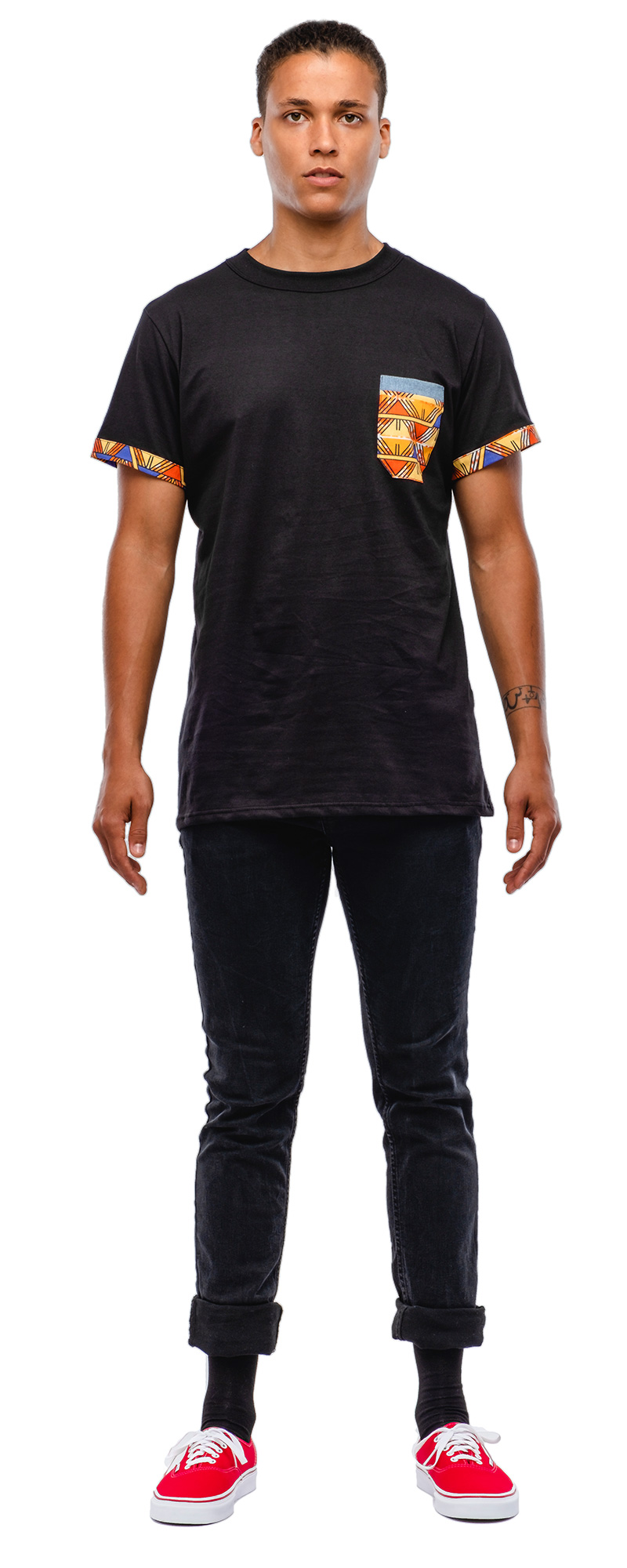 Black short sleeved t-shirt. longline silhouette, unisex design. Printed muslin trim on the sleeves and chest pocket, ''MAHW'' exclusive pattern.