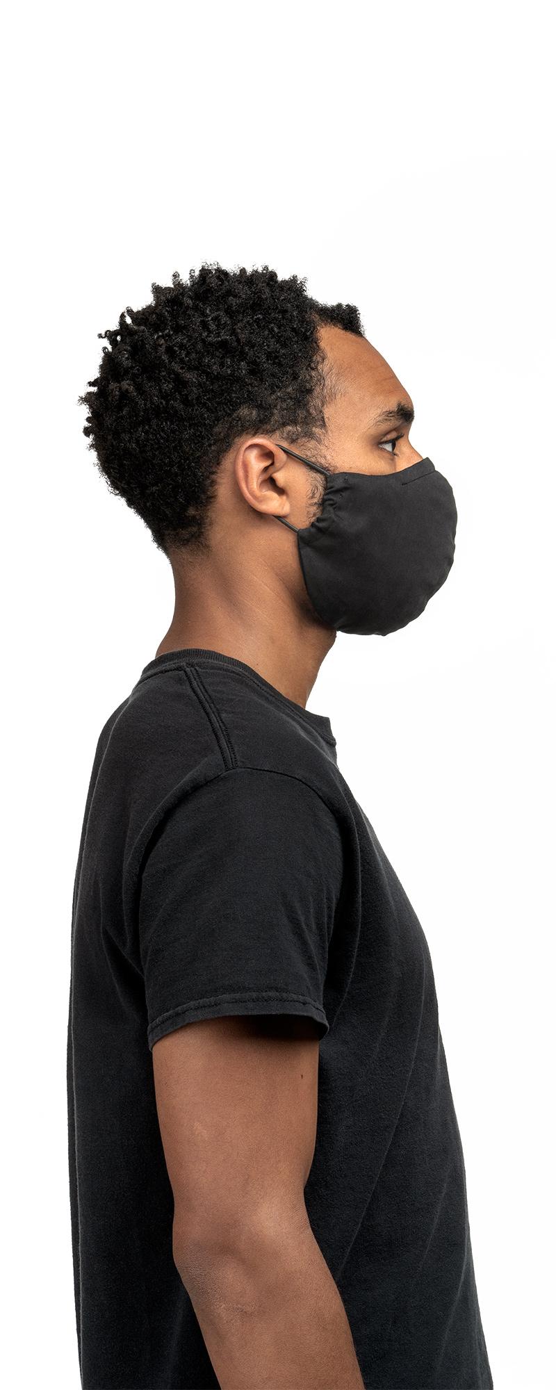 masque lavable en lyocell noir de profil